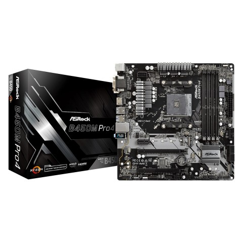 Main Asrock B450M Pro4 (Chipset AMD B450/ Socket AM4/ VGA onboard)